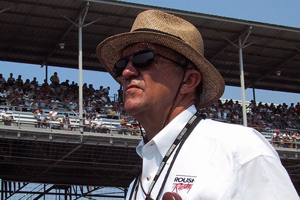 Jack Roush at racing track with straw hat and sunglasses