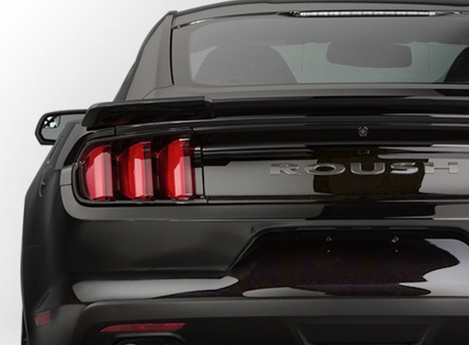 Roush Performance Parts, rear view of black Mustang