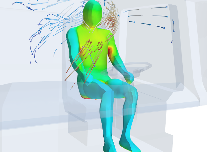 Visualizing the airflow over a human occupant inside a truck cabin for human comfort studies