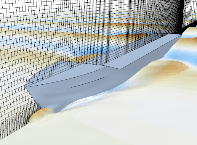 CFD simulation of the KCS boat hull in waves