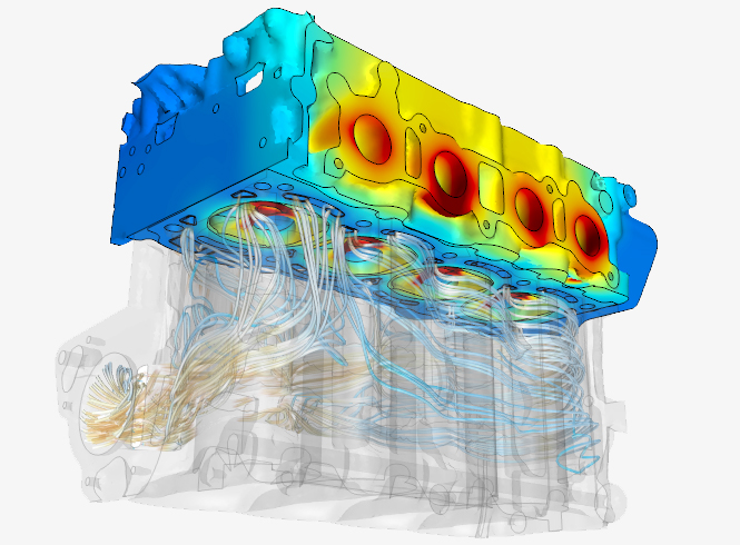 Conjugate heat transfer (flow and thermal) analysis of an engine assembly using CFD