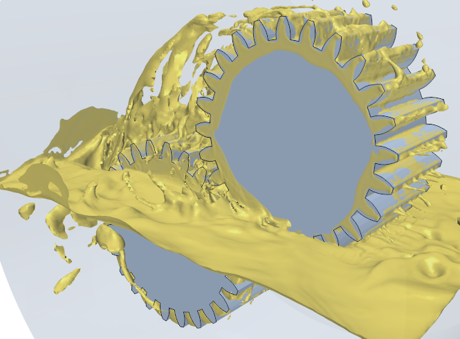 Simulating the sloshing of oil between two interlocking gears to study the lubrication efficiency