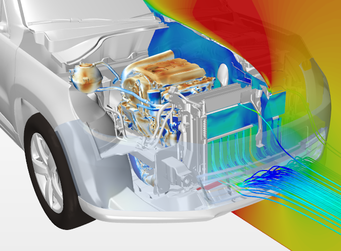 Visualizing the flow under the hood of a vehicle for thermal management
